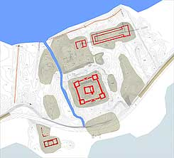Survey of the site with excavation trenches from 2001, made by: Nils Christian Clemmensen