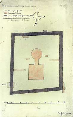 Plan of the castle with excavation trenches from 1893, drawing: Aage Langeland Mathiesen, The National Museum of Denmark
