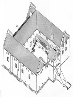 Reconstruction of the first castle, drawing: Mogens Vedsø